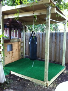 Training Zone With Heavy Bag And Pull Up Bar